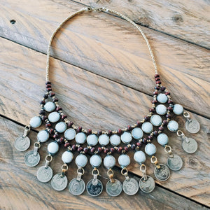 Tribal Grey Stone Coin Necklace - Necklace - Bohemian Jewellery and Homewares - Lost Lover