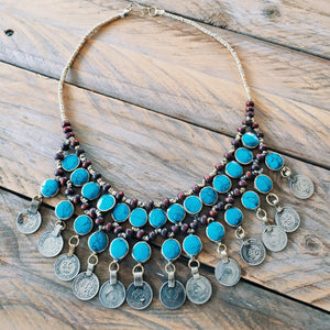 Tribal Turquoise Stone Coin Necklace - Necklace - Bohemian Jewellery and Homewares - Lost Lover