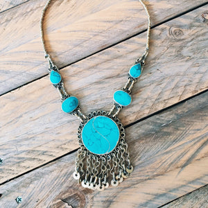 Tribal Turquoise Round Pendant Necklace - Necklace - Bohemian Jewellery and Homewares - Lost Lover