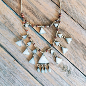 Tribal Triangle Shaped Grey Stone Necklace - Necklace - Bohemian Jewellery and Homewares - Lost Lover