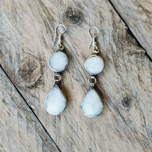 Tribal White Stone Earrings