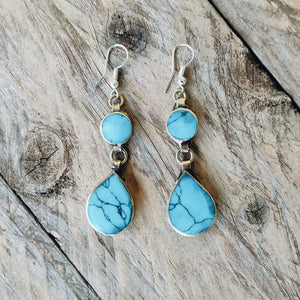 Tribal Turquoise Stone Earrings