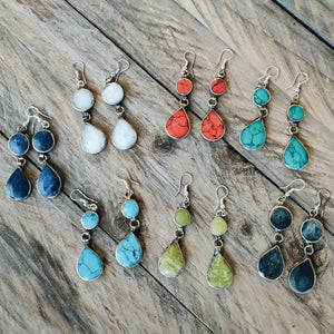 Tribal Green Stone Earrings