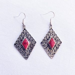Diamond tribal earrings - Red Stone
