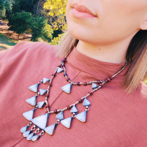 Tribal Triangle Shaped Grey Stone Necklace