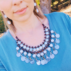 Tribal Grey Stone Coin Necklace