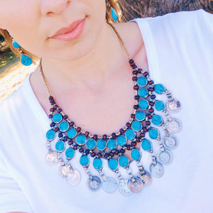 Tribal Turquoise Stone Coin Necklace