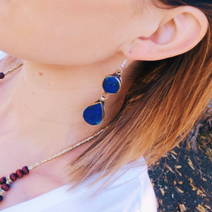 Tribal Lapis Stone Earrings