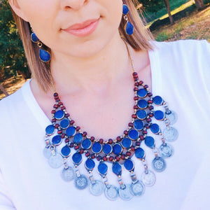 Tribal Lapis Stone Coin Necklace