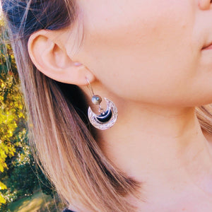 Crescent tribal earrings - Black