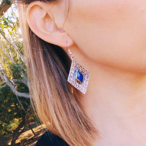 Diamond tribal earrings - Lapis