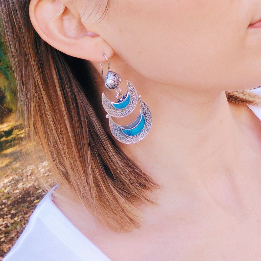 Double Crescent tribal earrings - Turquoise