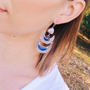 Double Crescent tribal earrings - Lapis