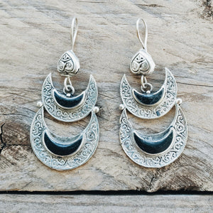 Double Crescent tribal earrings - Black