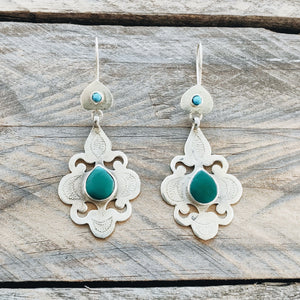 Ornate Turkmen Teke Earrings - Emerald