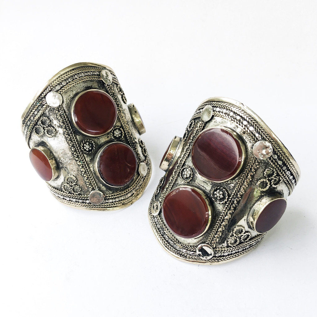 Agate double stone tribal cuff - Lost Lover - 1