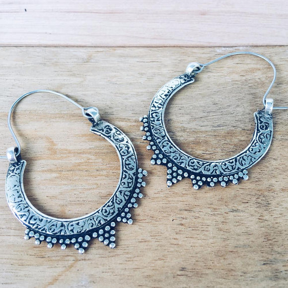Gypsy tribal hoop earrings - Large - Lost Lover - 1