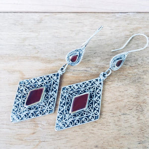 Diamond Tribal Earrings - Agate - Earrings - Lost Lover