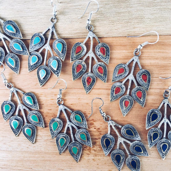 Leaf tribal earrings - Lapis lazuli - Lost Lover - 1