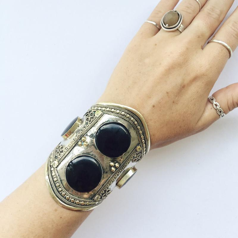 Black double stone tribal cuff - Lost Lover - 1