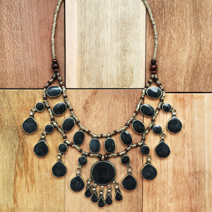 Tribal Black Stone Necklace - Necklace - Lost Lover