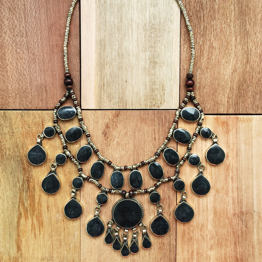 Tribal black stone necklace - Necklace - Bohemian Jewellery and Homewares - Lost Lover