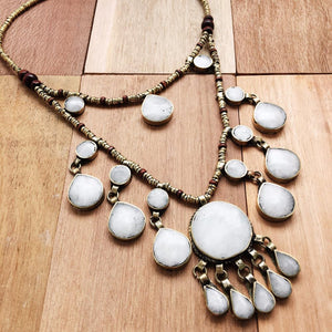 Two Tier Tribal Grey Stone Necklace - Necklace - Lost Lover