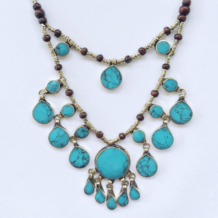 Two Tier Tribal turquoise stone necklace - Lost Lover - 1