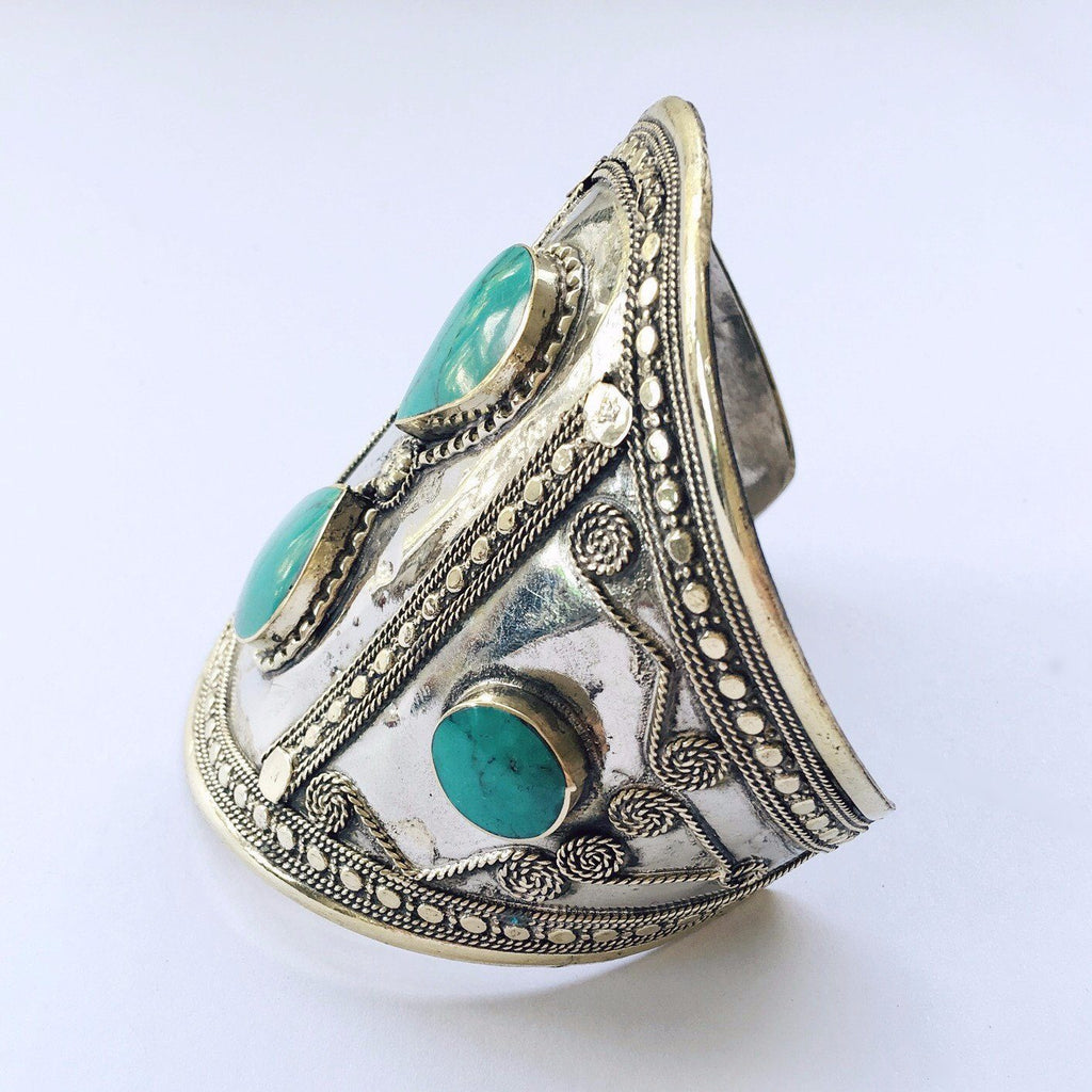 Green stone double teardrop tribal cuff - Lost Lover - 2