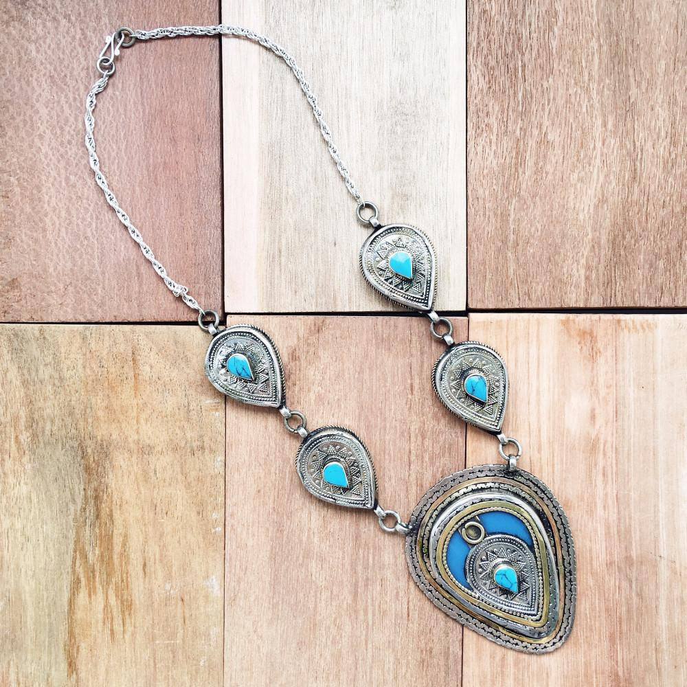 Chunky Tribal Pendant Necklace - Turquoise - Lost Lover - 3