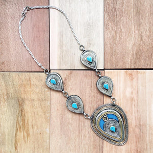 Chunky Tribal Pendant Necklace - Turquoise - Necklace - Bohemian Jewellery and Homewares - Lost Lover