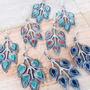 Leaf tribal earrings - Turquoise - Lost Lover - 2