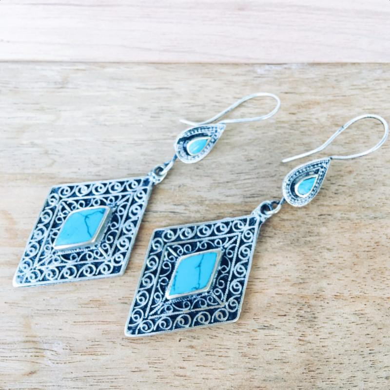 Diamond tribal earrings - Turquoise - Lost Lover