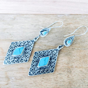Diamond tribal earrings - Turquoise - Earrings - Bohemian Jewellery and Homewares - Lost Lover