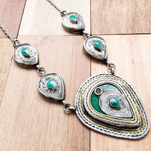 Chunky Tribal Pendant Necklace - Green - Lost Lover - 1