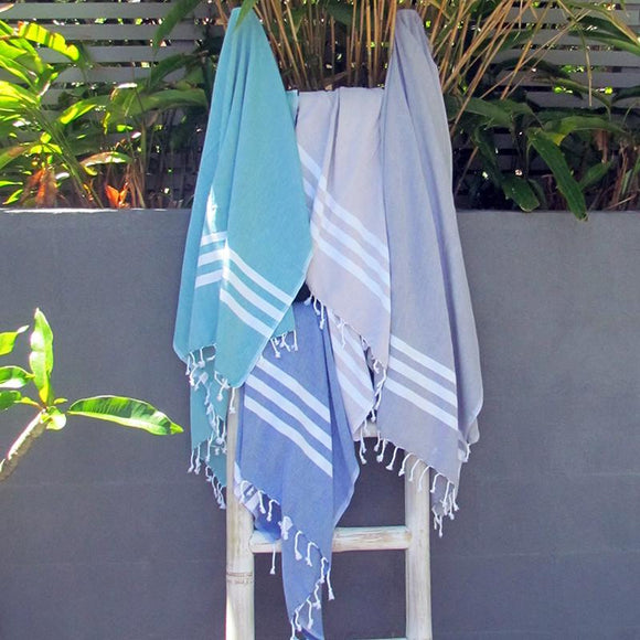 Turkish towel - blue with white stripes - Lost Lover - 1
