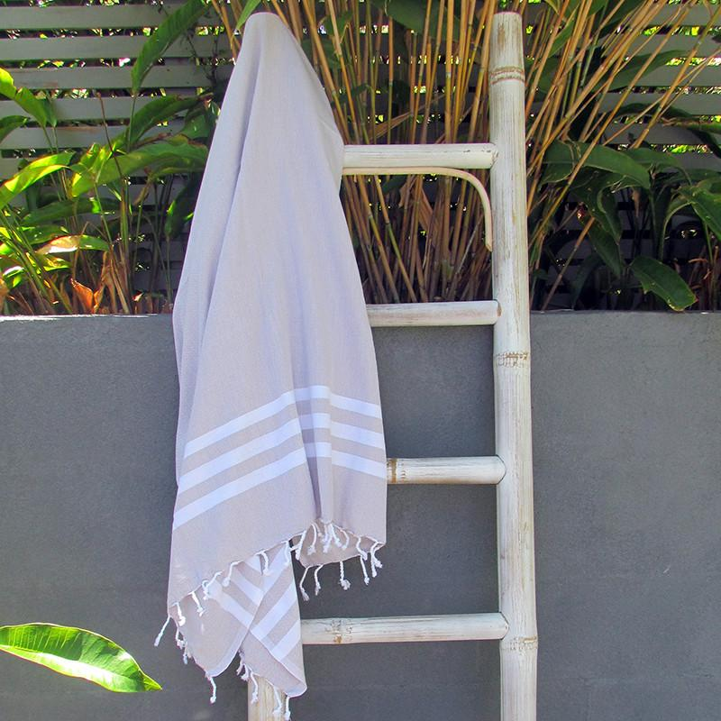 Turkish towel - beige with white stripes - Lost Lover - 1