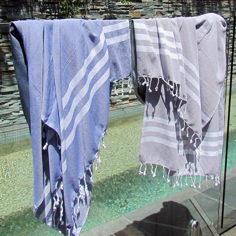 Turkish towel - blue with white stripes - Lost Lover - 3