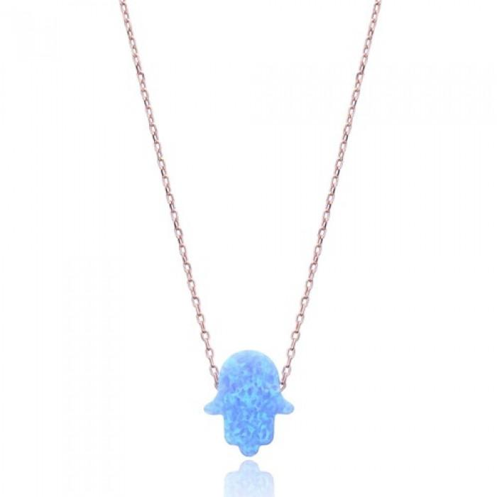 Blue Opal Hamsa pendant on chain