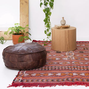 Large leather pouffe (multiple colours) - Leather Pouffe - Bohemian Jewellery and Homewares - Lost Lover