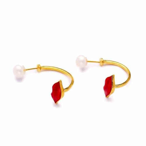 Cherry Lips Floating Earrings - Lost Lover - 2