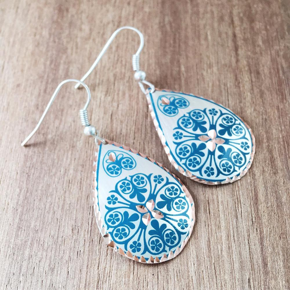 Turkish Copper Earrings - Teal - Lost Lover - 1