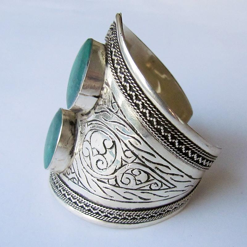Green double stone tribal cuff - Lost Lover - 3