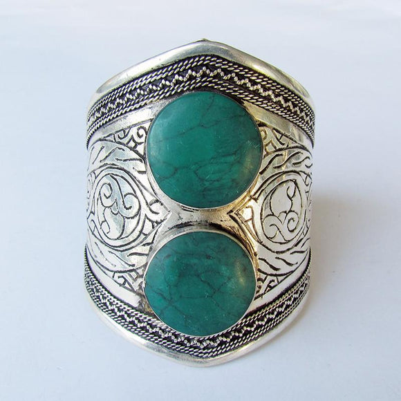 Green double stone tribal cuff - Lost Lover - 1