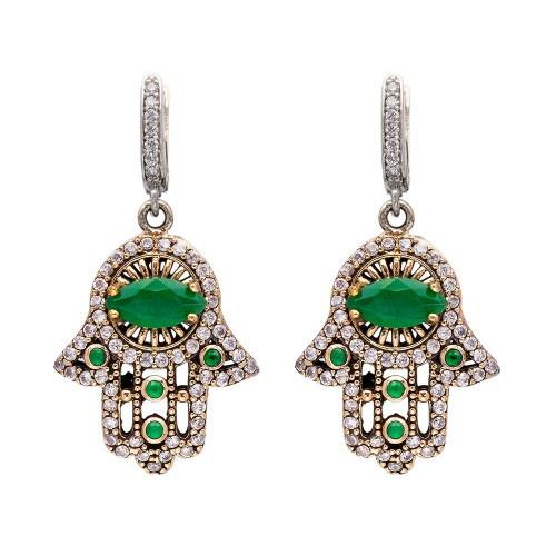 The Jewelled Hamsa Earrings - Emerald - Lost Lover - 1