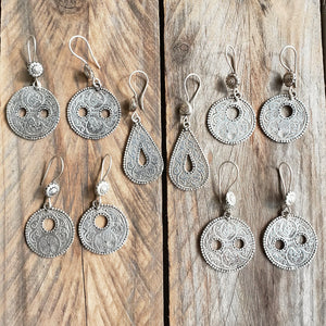 Engraved tribal earrings