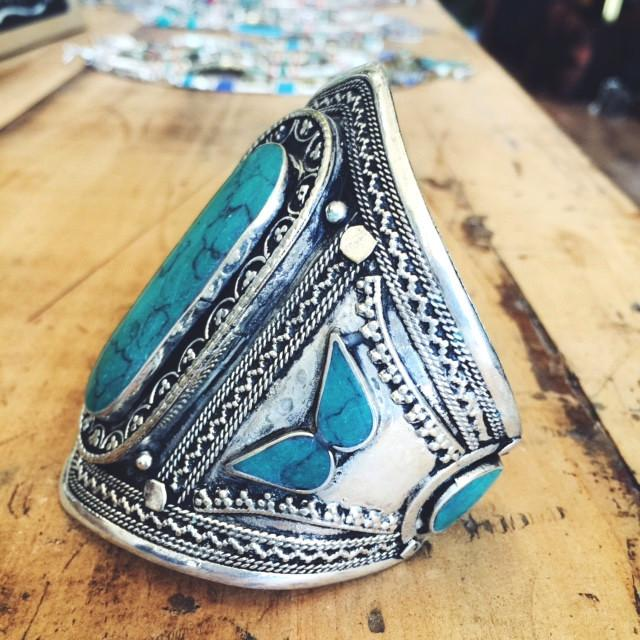 Green stone tribal cuff - Lost Lover - 2