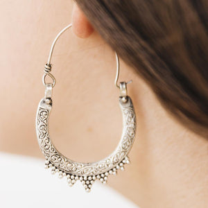 Gypsy tribal hoop earrings - Large