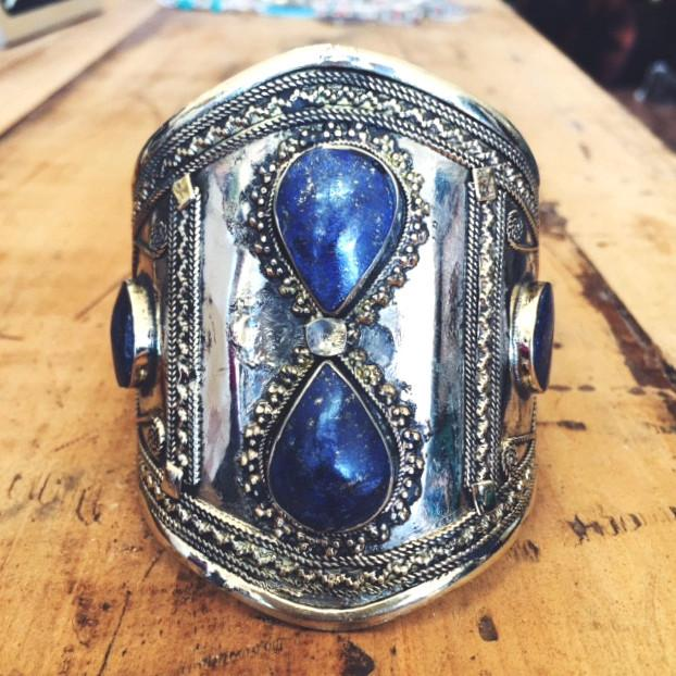 Lapis lazuli double teardrop tribal cuff - Lost Lover - 1