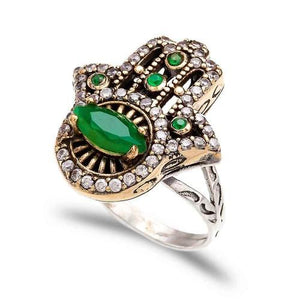 The Jewelled Hamsa Ring - Emerald - Ring - Bohemian Jewellery and Homewares - Lost Lover